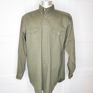 Mens Brooks Brothers Army Green Button Shirt Large
